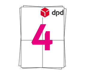 DPD Etiket op A4 stickervellen, 4 per vel, wit, permanent, 105mm x 148mm