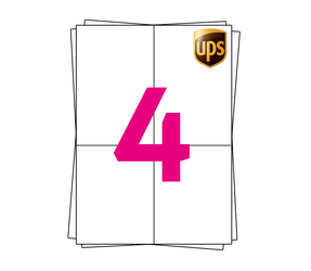 UPS Etiket op A4 stickervellen, 4 per vel, wit, permanent, 105mm x 148mm