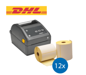 Lot d'initiation DHL : Zebra imprimante ZD420D ethernet + 12 rouleaux d'étiquettes Zebra compatibles 102mm x 210mm