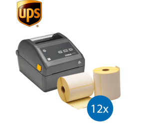Lot d'initiation UPS : Zebra imprimante ZD420D ethernet + 12 rouleaux d'étiquettes Zebra compatibles 102mm x 150mm