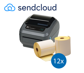Lot d'initiation SendCloud : Zebra imprimante GK420D + 12 rouleaux d'étiquettes Zebra compatibles 102mm x 150mm