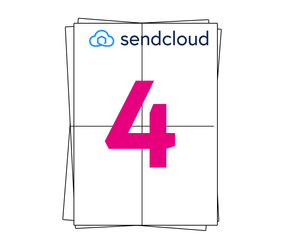SendCloud Etiket op A4 stickervellen, 4 per vel, wit, permanent, 105mm x 148mm