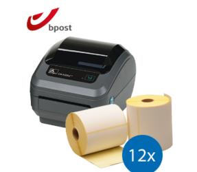 Lot d'initiation Bpost : Zebra imprimante GK420D ethernet + 12 rouleaux d'étiquettes compatibles 102mm x 150mm