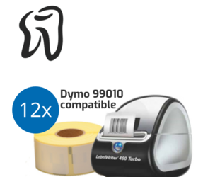 Lot d'initiation pour dentistes : Dymo LabelWriter 450 Turbo + 12 rouleaux d'étiquettes compatibles Dymo 99010