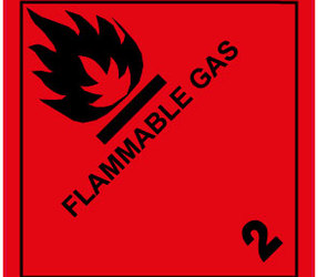 IATA 2.1 Flammable Gas label, 100mm x 100mm, 1.000 etiketten, core 76mm