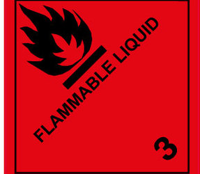 IATA 3.0 Flammable liquid label, 100mm x 100mm, 1.000 etiketten, core 76mm