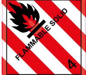 IATA 4.1 Flammable solids label, 100mm x 100mm, 1.000 etiketten, core 76mm