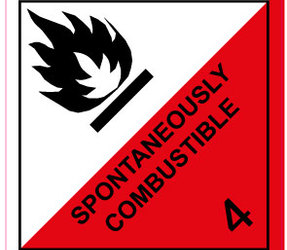 IATA 4.2 Spontaneously combustible label, 100mm x 100mm, 1.000 etiketten, core 76mm