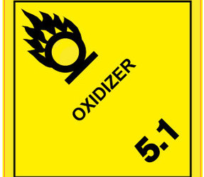 IATA 5.1 Oxidizer label, 100mm x 100mm, 1.000 etiketten, core 76mm