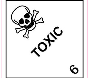 IATA 6.1 Toxic label, 100mm x 100mm, 1.000 etiketten, core 76mm