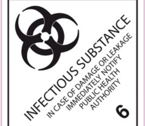 IATA 6.2 Infectious substance label, 100mm x 100mm, 1.000 etiketten, core 76mm