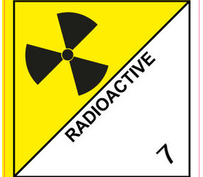 IATA 7.0 Radioactive label, 100mm x 100mm, 1.000 etiketten, core 76mm