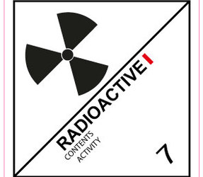 IATA 7.1 Radioactive label, 100mm x 100mm, 1.000 etiketten, core 76mm