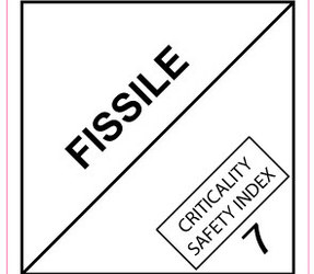 IATA 7.4 Fissile label, 100mm x 100mm, 1.000 etiketten, core 76mm