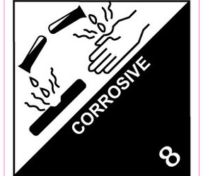 IATA 8.0 Corrosive label, 100mm x 100mm, 1.000 etiketten, core 76mm