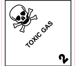 IMO 2.3 Toxic gas label, 100mm x 100mm, 1.000 etiketten, core 76mm