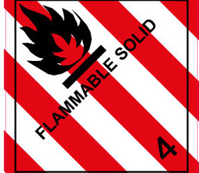 IMO 4.1 Flammable solid label, 100mm x 100mm, 1.000 etiketten, core 76mm