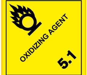 IMO 5.1 Oxidizing agent label, 100mm x 100mm, 1.000 etiketten, core 76mm