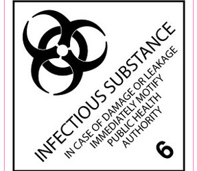 Étiquettes IMO 6.2 Infectious substance, 100mm x 100mm, 1000 étiquettes