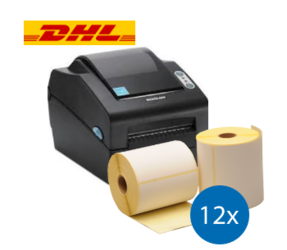 Lot d'initiation DHL: Bixolon imprimante SLP-DX420EG ethernet + 12 rouleaux d'étiquettes compatibles 102mm x 210mm