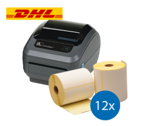Lot d'initiation DHL : Zebra imprimante GK420D ethernet + 12 rouleaux d'étiquettes Zebra compatibles 102mm x 210mm