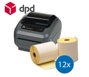 Lot d'initiation DPD : Zebra imprimante GK420D ethernet + 12 rouleaux d'étiquettes compatibles 102mm x 150mm