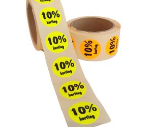 Afbeelding van 10% Kortingsstickers, Fluor Geel, 500 Stickers