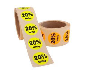 Afbeelding van 20% Kortingsstickers, Fluor Geel, 500 Stickers