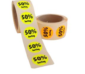 Afbeelding van 50% Kortingsstickers, Fluor Geel, 500 Stickers