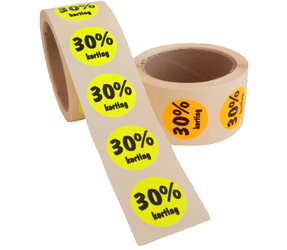 30% Kortingsstickers, Fluor Oranje, 500 Stickers