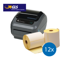 Lot d'initiation GLS : Zebra imprimante GK420D ethernet + 12 rouleaux d'étiquettes Zebra compatibles 102mm x 150mm