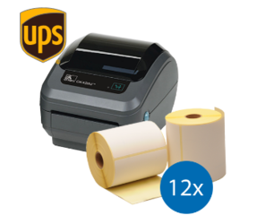 Lot d'initiation UPS : Zebra imprimante GK420D ethernet + 12 rouleaux d'étiquettes Zebra compatibles 102mm x 150mm